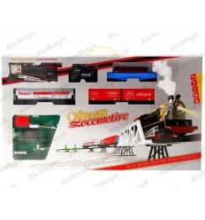 Kolejka elektryczna z wagonami na moście